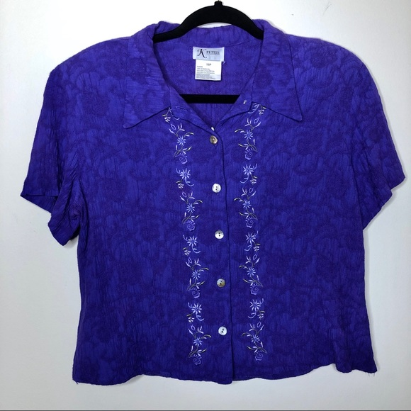 Tops - Vintage Button Down Embroidered Crop Top